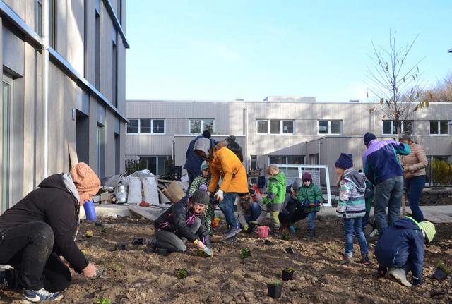 Kinder und Erwachsene bepflanzen eine Fläche vor einem Haus. Die Arbeit mit Menschen macht einfach Spaß. Wobei die meisten Bewohner absolute Laien in Sachen Garten und erst recht bei Naturgärten waren.