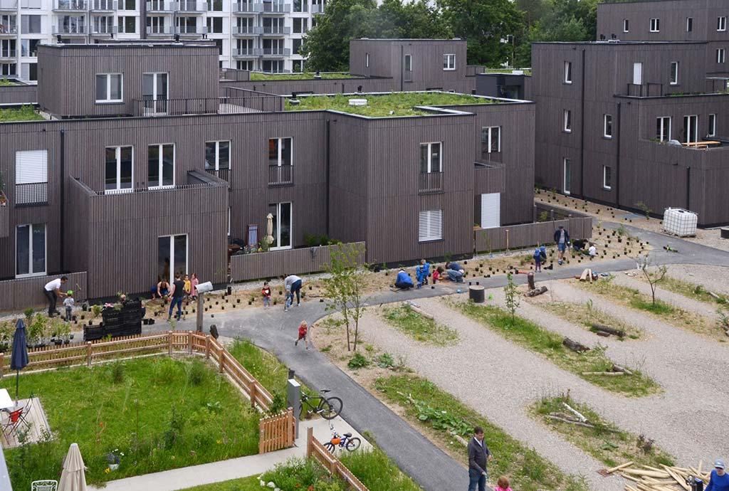 Blick von oben in den Innenhof, Privatgärten und auf Dächer. Gebaut und gepflanzt wurde in mehreren Bauabschnitten. Während Blumenrasen, Blumen-Schotter-Rasen und einige Dachansaaten schon ein halbes Jahr alt sind und wenigstens grün aussehen, wird gerade ein neuer Grünstreifen angelegt