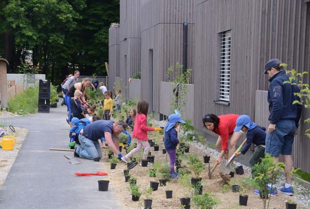 Pflanzaktion mit Anwohnern. Es ist schön zu sehen, wie sich Anwohner zusammen finden, kennen lernen und solidarisieren mit der Idee, dass das ein Naturgarten werden soll. Unser wichtiger, unser persönlicher Beitrag für die Zukunft.