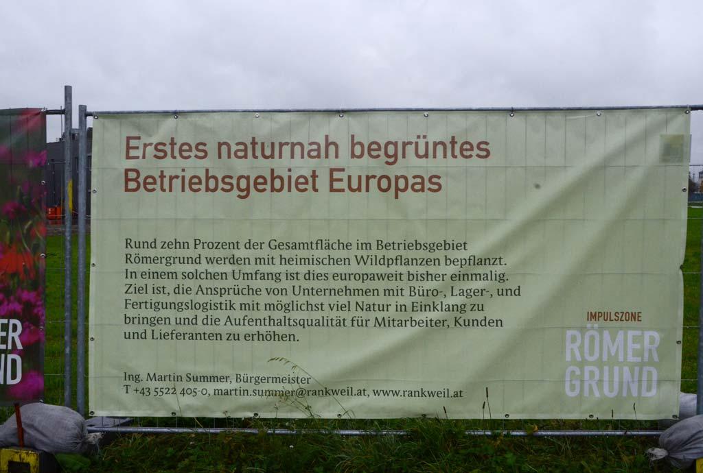 Noch ein Schild, die Werbung ist schon mal gut. Wird es auch so wie gedacht? Rund 10 % der Gesamtfläche sollen für heimische Wilfpflanzen reserviert werden