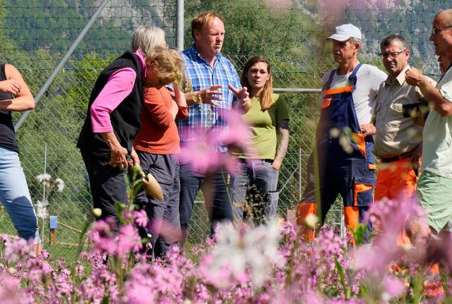Leute im Gespräch vor Blumen. Kommunikation zwischen den Projektgemeinden ist ein zentraler Baustein vom Bauhoftraining.